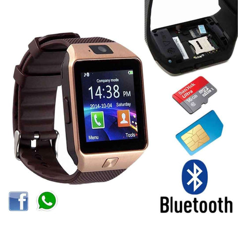 GSM Brown Smart Watch with Sim, Memory Card & Camera