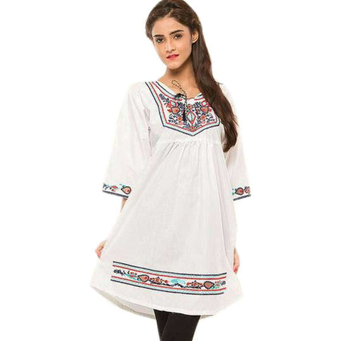 Short Pleats White Kurti