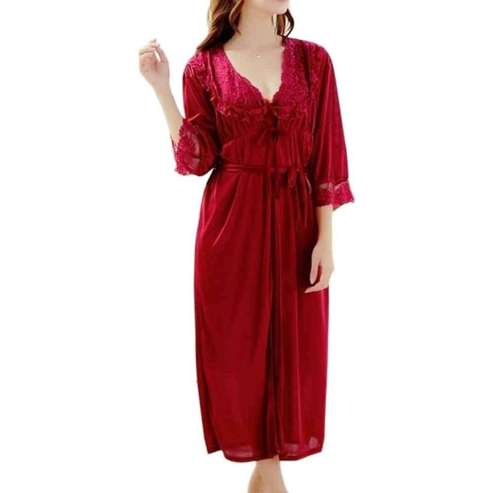 Women's Maroon Silk 2pc Robe Gown Set Nighty