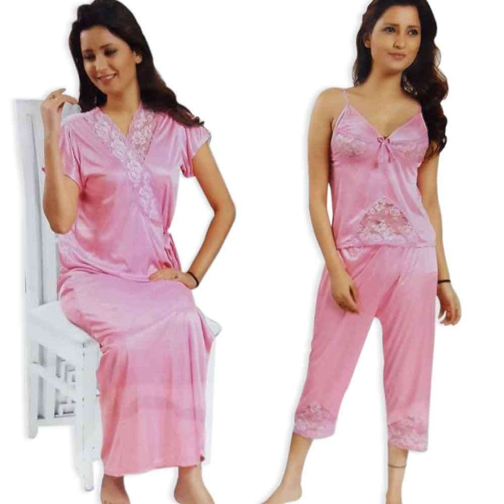 Pink 3pc Nighty Gown Pj Set Nightwear