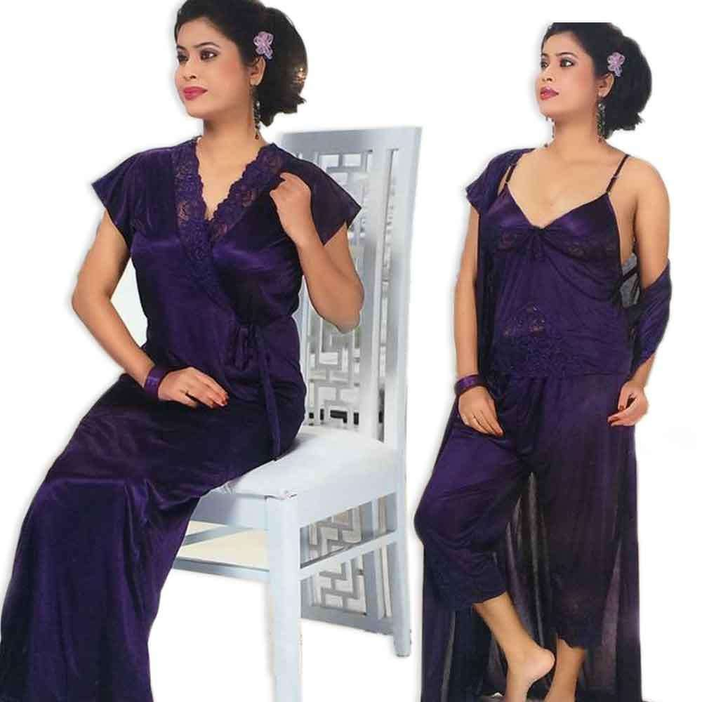 Purple 3pc Nighty Gown Pj Set Nightwear