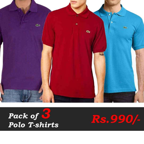 Polo T-Shirts Pack of 3 Deal (Purple, Red, Sea Blue)