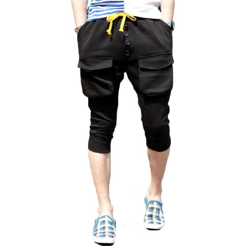 Men's Black Ribbed Bermuda Shorts