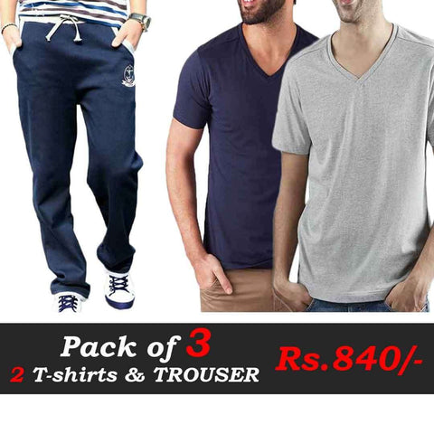 T-Shirts and Trousers Pack of 3 (Blue, Navy Blue & Grey Trouser)