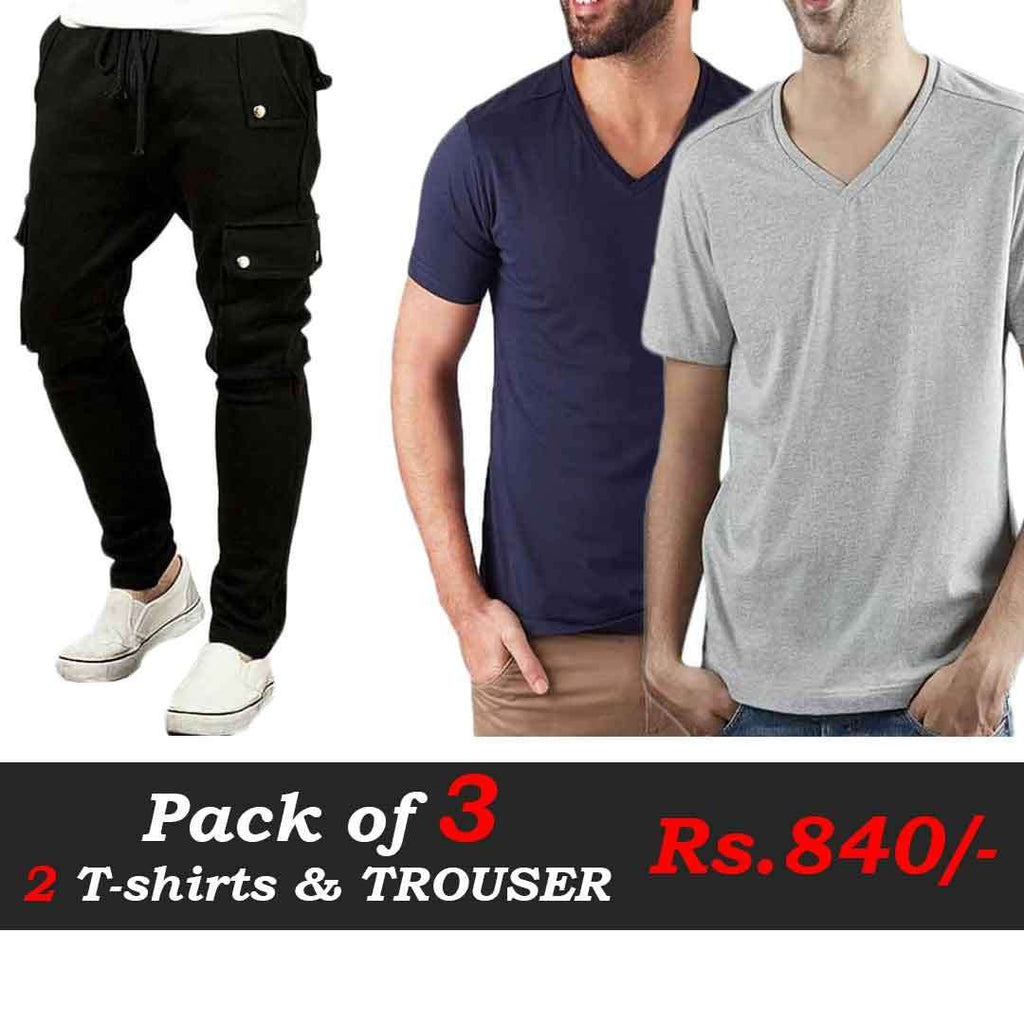 T-Shirts and Trousers Pack of 3 (Blue, Grey & Black Trouser)