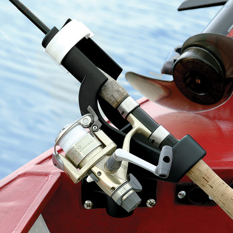 Wise 6039 Rod Tender side mounted to boat. Securely holds fishing poles in place