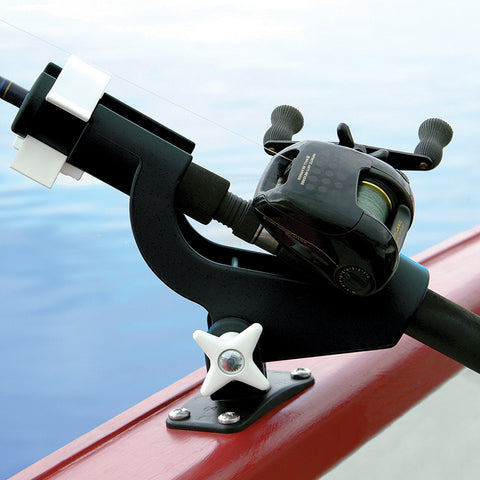 Wise 6040 Rod Tender flush mounted to boat. Securely holds fishing poles in place