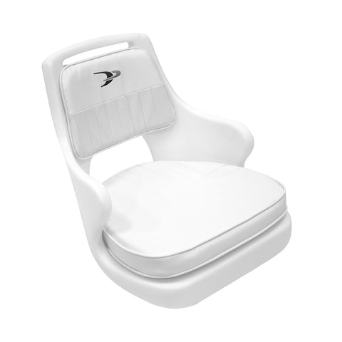 Wise 8WD562-6-710 Ladder Back Helm Chair with Adjustable Height Pedestal and Seat Slide White