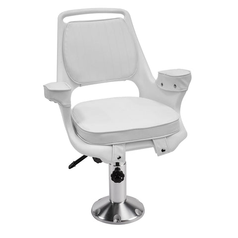 8WD1007-6-710 Captains Chair & Cushions w/ Adjustable Pedestal & Seat Slide Mount
