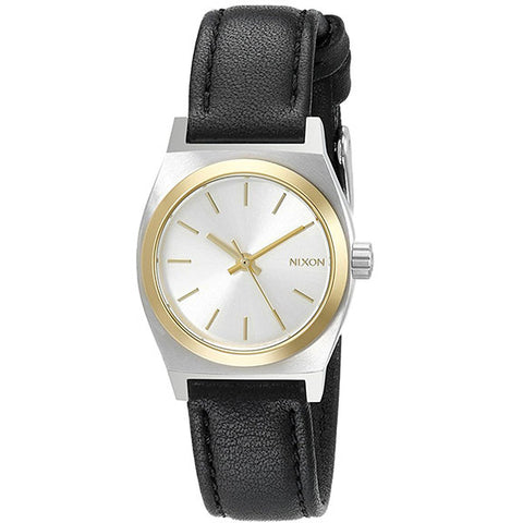 Nixon Small Time Teller Leather Watches in silver/gold:black leather