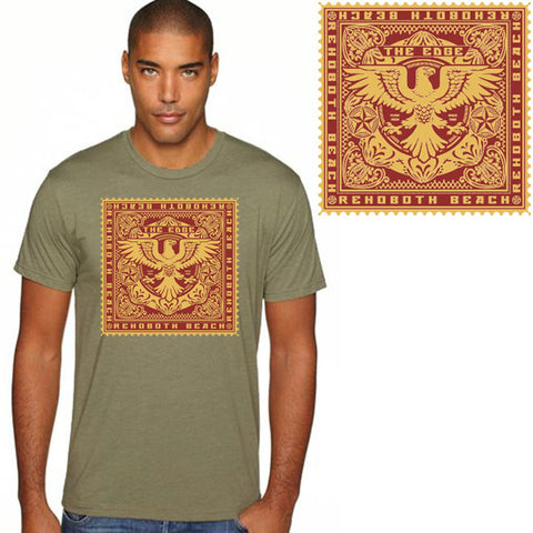 Edge Mens Stamped T-Shirts in Medium:olive