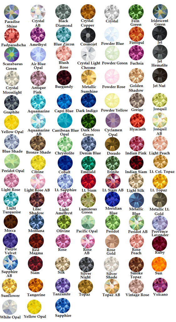 Get Me Bedazzled Rhinestone Color Chart