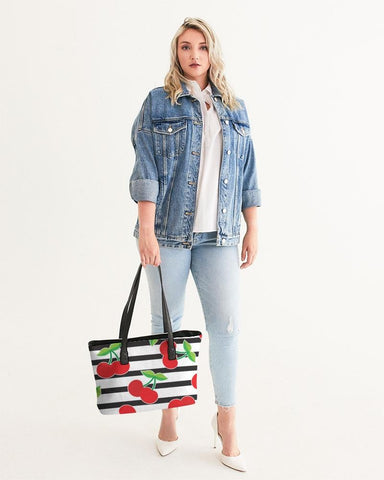 Image of CHERRY STRIPED STYLISH TOTE