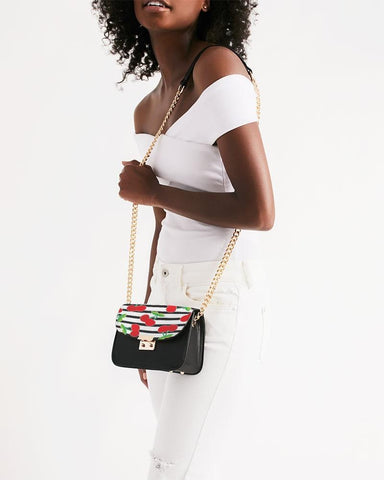 CHERRY STRIPED SMALL SHOULDER BAG