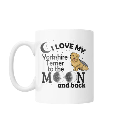 Image of Yorkshire Terrier Love you to the moon Mug White Coffee Mug