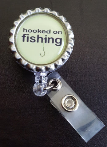 Fishing Themed Bottle Cap Badge