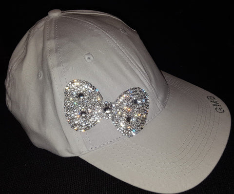 White Bedazzled Bow Cap