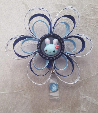 Blue Bunny Loopy Flower Badge