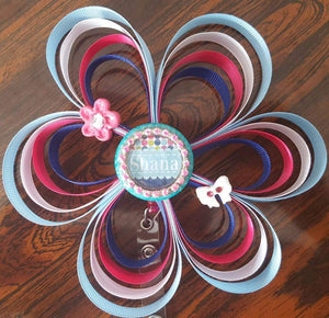 Personalized Loopy Flower Badge
