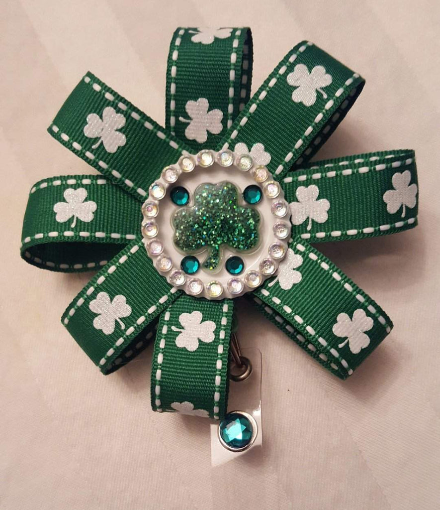 Bedazzled St. Patrick's Day Loopy Flower Badge