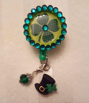 Bedazzled Bottle Cap St. Patrick's Day Badge