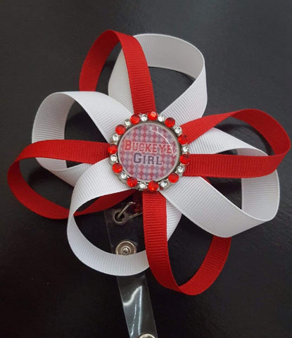 "Bedazzled ""Buckeye Girl"" Loopy Flower Badge"