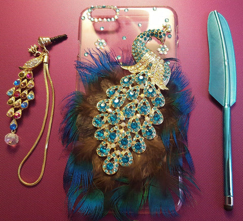 Bedazzled Peacock iPhone 6 Plus and 6S Plus Case
