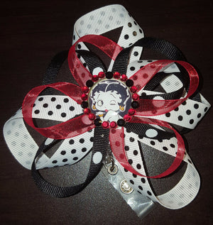 Polka Dot Betty Boop Loopy Flower Badge