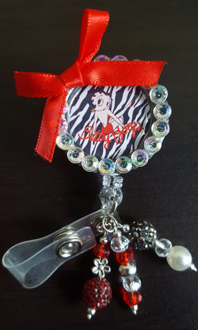 Zebra Betty Boop Bottle Cap Badge