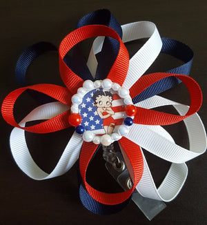 Patriotic Betty Boop Loopy Flower Badge