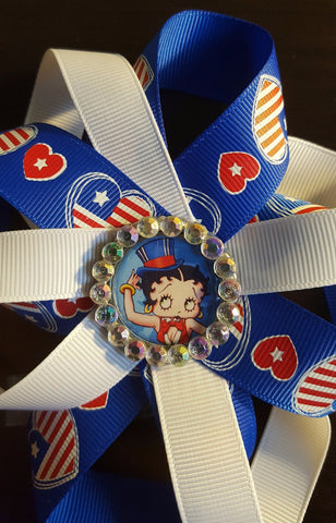 Fourth of July Betty Boop Loopy Flower Badge
