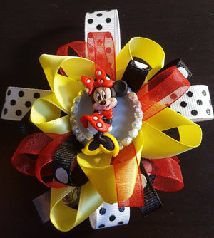 Bedazzled Minnie Mouse Loopy Flower Badge