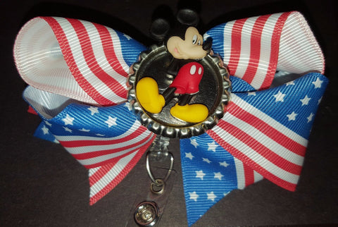 Patriotic Mickey Bottle Cap Badge