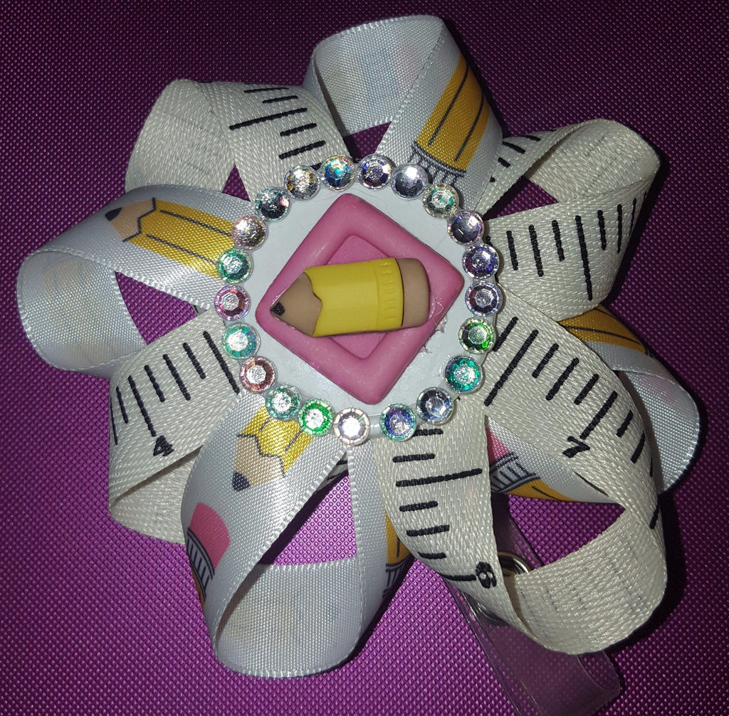 Pencil and Ruler Bedazzled Loopy Flower Badge