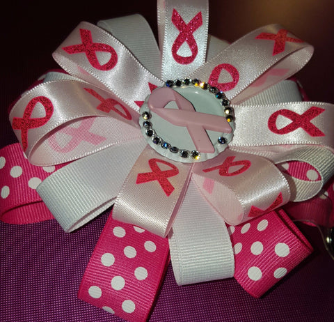 Pretty in Pink Polka Dot Breast Cancer Badge
