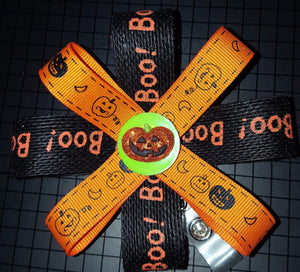 Halloween Boo! Loopy Flower Badge