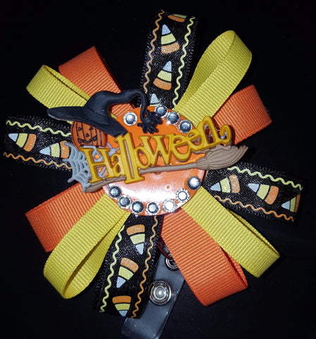 Candy Corn Halloween Loopy Flower Badge