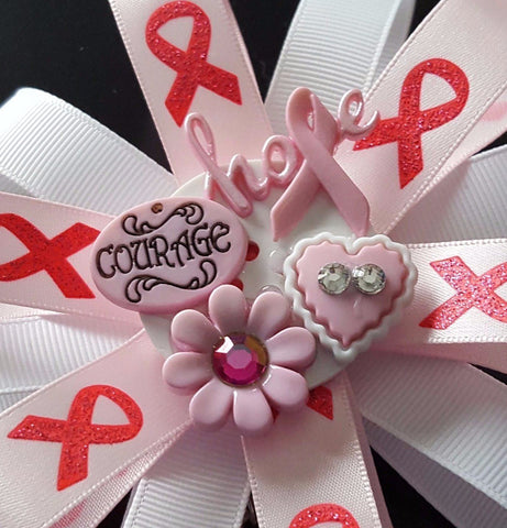 Courage and Hope Breast Cancer Awareness Badge
