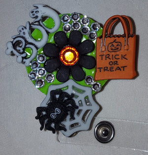 Trick or Treat Bedazzled Button Badge