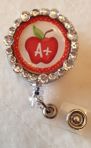 A+ Apple Teacher Bedazzled Badge