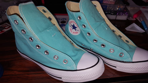 Image of BEDAZZLED WOMEN'S LIGHT AQUA HIGH-TOP ALL STAR CONVERSES
