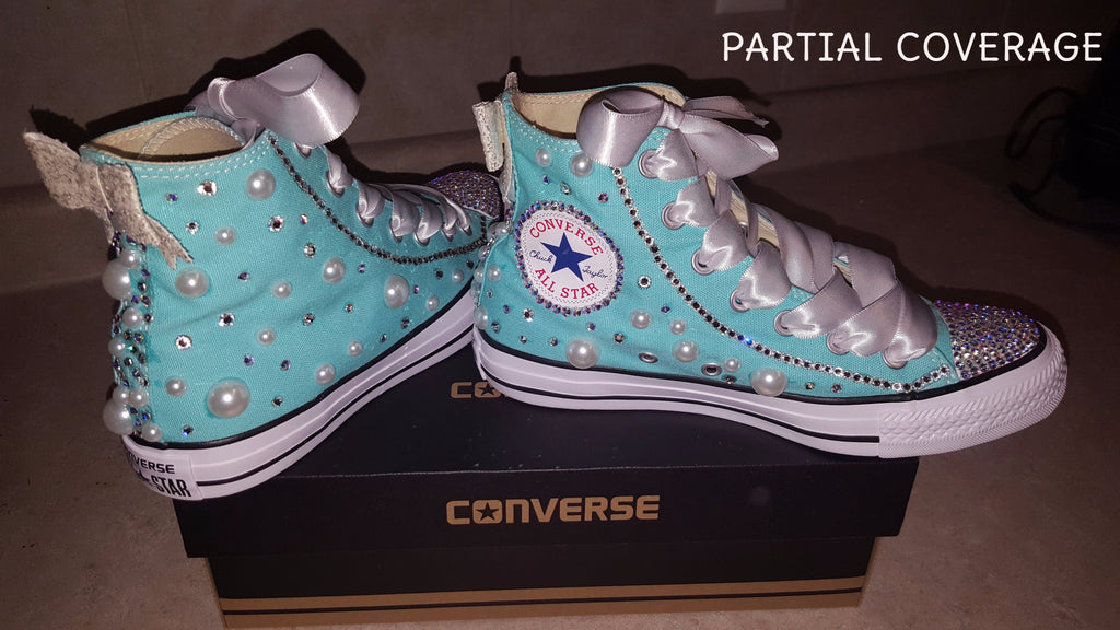 331243948d0af BEDAZZLED WOMEN'S LIGHT AQUA HIGH-TOP ALL STAR CONVERSES
