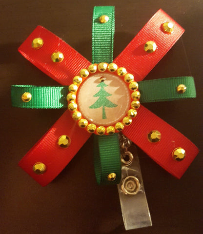 Bedazzled Christmas Tree Loopy Flower Badge