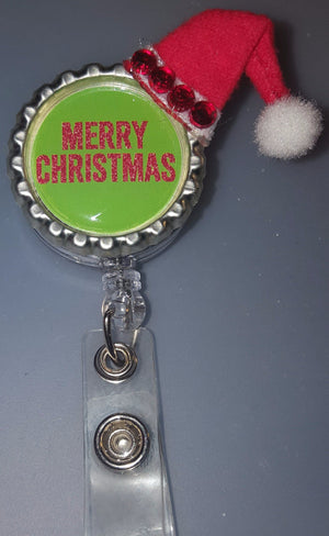 Merry Christmas Santa Hat Bottle Cap Badge
