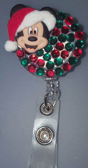 Santa Hat Mickey Bottle Cap Badge