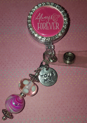 Bedazzled Always & Forever Valentine's Badge