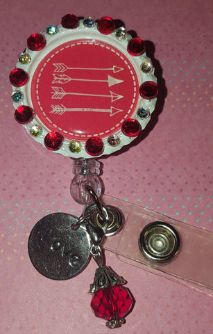 Bedazzled Arrows Valentine's Bottle Cap Badge