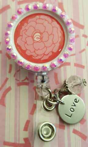 Bedazzled Pink Flower Valentine's Bottle Cap Badge
