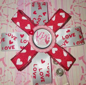 Kiss Me Valentine's Badge