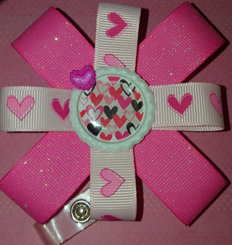 Pretty in Pink Glitter Valentine's Badge